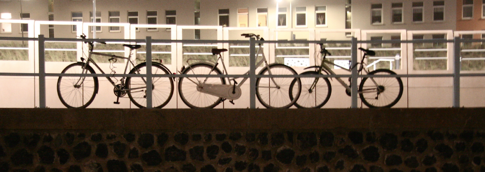 Bicycles rest against a railing in The Hague