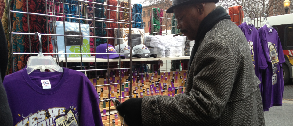 Mr Hakeem organized his merchandise for a busy day outside the market